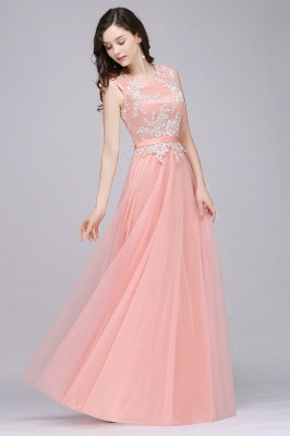 Pink A-line Prom Dress with Lace Appliques In Stock_9