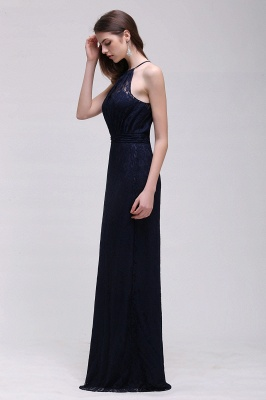 Cheap Pretty Floor length Navy blue Halter Lace Prom Dress in Stock_9