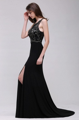 Sweep-train Chic Split-front Sleeveless A-line Chiffon Prom Dress_5