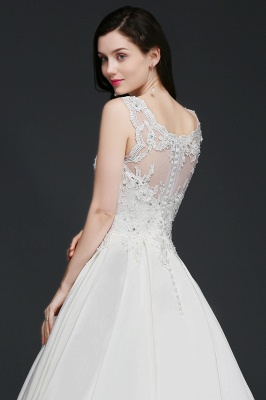A-line Sweep Train Elegant Wedding Dress With Beading_6