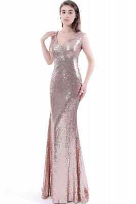 Mermaid Floor Length V-Neck Long Sequins Prom Dresses_6