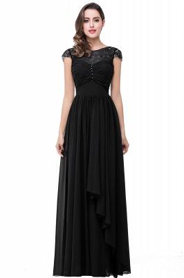 Cheap A-line Ruffles Ribbon Bow Capped Lace Chiffon Bridesmaid Dress in Stock_3