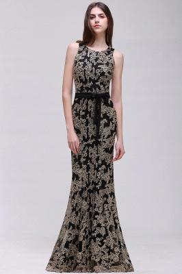 Sheath Round Neck Floor-Length Lace Evening Dresses_4