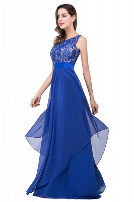 ADDISON | Affordable A-line Floor-length Chiffon Evening Dress with Lace_9