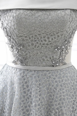 Chic Layers Off-the-Shoulder Lace Hi-Lo Silver Party Dresses_4