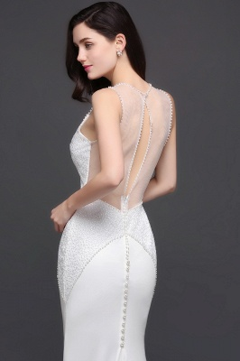 Mermaid Scoop Chiffon White Evening Dress With Beadings_5