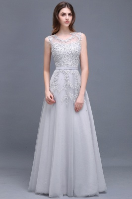 ADDILYN | A-line Floor-length Tulle Prom Dress with Appliques_8