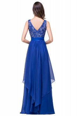 ADDISON | Affordable A-line Floor-length Chiffon Evening Dress with Lace_6
