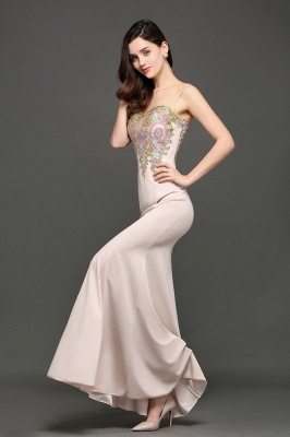 Mermaid Floor Length Pearl Pink Evening Dresses with Appliques_5