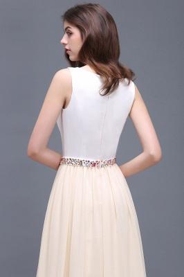 Sheath Jewel White Long Evening Dresses With Beads_7