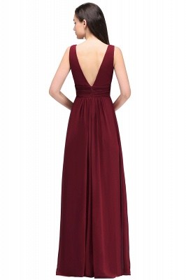 ALEXA | Sheath V Neck Burgundy Chiffon Long Evening Dresses_5