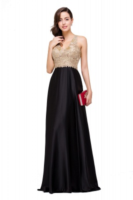 Cheap V-neck Satin Floor-Length A-Line Appliques Backless Prom Dress in Stock_10
