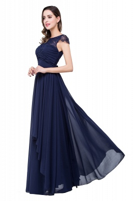 Cheap A-line Ruffles Ribbon Bow Capped Lace Chiffon Bridesmaid Dress in Stock_10