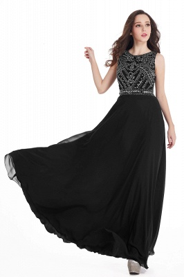Sheath Jewel Crystals Floor Length Long Chiffon Cheap Prom Dresses_13