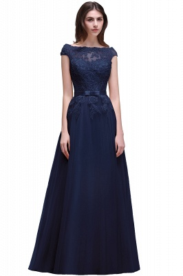Champagne Evening  Prom Off-the-shoulder Floor-Length with-Belt Lace-Appliques Party Dress_6
