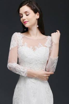 Mermaid Jewel White Wedding Dress With Lace_7