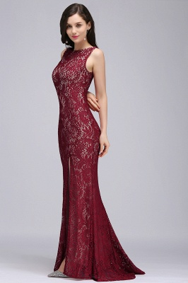 Cheap Crew Front-split Backless Prom Dress Sweep-train Sleeveless Burgundy Lace Mermaid Evening Dress in Stock_6