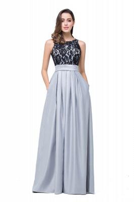 ELLIE | Elegant A-line Floor-length Crew Chiffon Lace Bridesmaid Dresses_7