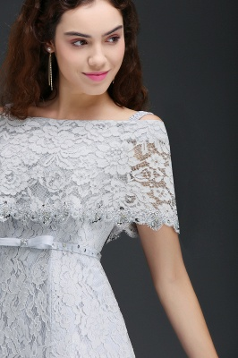 ALEXIS | Cheap Off Shoulder Tea-Length A Line Lace Homecoming Dresses With Sash_4