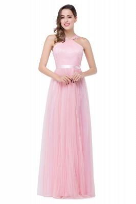 Cheap Sheath Pink Tulle Ribbon Sash Simple Bridesmaid Dress in Stock_2