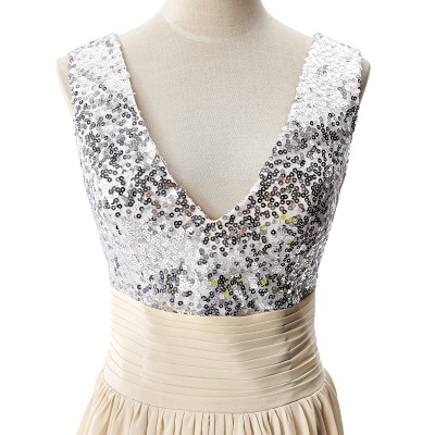 Cheap A-line V-neck Chiffon Party Dress With Sequined in Stock_8