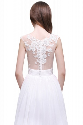 Cheap Elegant White Sheer Lace Chiffon Beach Wedding Dress in Stock_7