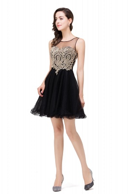 ESTRELLA | A-line Crew Short Sleeveless Appliques Prom Dress_9