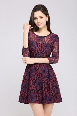 ANNIKA | A-line Scoop Short Lace Cocktail Dresses_4