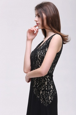 Black Lace V-Neck Long A-line Prom Dress In Stock_5