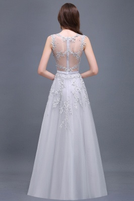 Cheap A-line Floor-length Tulle Prom Dress with Appliques in Stock_14