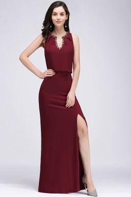 Cheap Front-split Crystal Floor-length V-neck Sleeveless Burgundy A-line Evening Dress in Stock_5