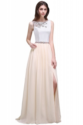 Sheath Jewel White Long Evening Dresses With Beads_8
