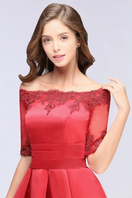 Cheap Chic Half Sleeve Lace-up Off-shoulder Lace Appliques Short Prom Dress in Stock_8