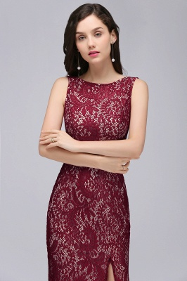 Cheap Crew Front-split Backless Prom Dress Sweep-train Sleeveless Burgundy Lace Mermaid Evening Dress in Stock_5