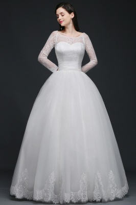 Princess Scoop Tulle White Wedding Dress With Lace_2