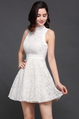 Princess High neck Knee-length White Cute Homecoming Dress_2