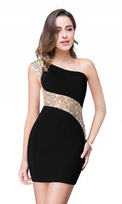 Cheap Cheap Crystal Beading One-shoulder Short Mermaid Prom Dress in Stock_5