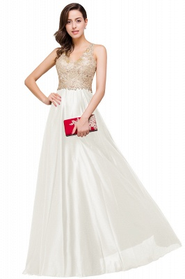 Cheap V-neck Satin Floor-Length A-Line Appliques Backless Prom Dress in Stock_1