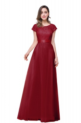 ELLIANA | Elegant Short Sleeves A-line Chiffon Bridesmaid Dresses with Ribbon Bow Sash_3
