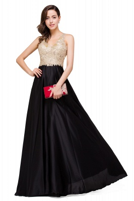 Cheap V-neck Satin Floor-Length A-Line Appliques Backless Prom Dress in Stock_4