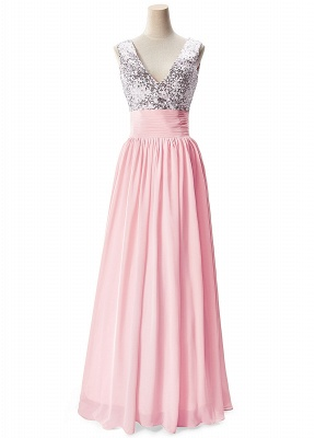 Cheap A-line V-neck Chiffon Party Dress With Sequined in Stock_1