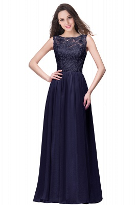 ELYSE | A-line Sleeveless Crew Floor-length Lace Top Chiffon Prom Dresses_12