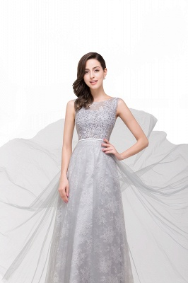 FRANKIE | A-Line Sleeveless Tulle Prom Dresses Long Party Gown_6