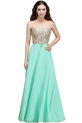 Cheap Sheer Tulle A-line Chiffon Beads Lace Appliques Sleeveless Long Evening Dress in Stock_5