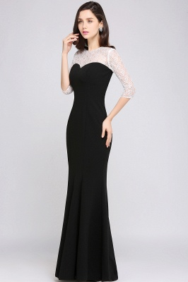 Mermaid Floor Length Black Evening Dresses with Lace_3