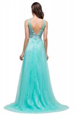 Cheap A-line Court Train Tulle Evening Dress with Appliques in Stock_9