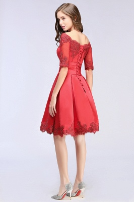 Cheap Chic Half Sleeve Lace-up Off-shoulder Lace Appliques Short Prom Dress in Stock_7