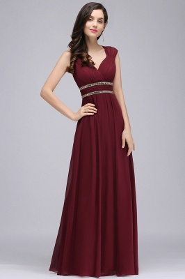 Cheap Vintage Burgundy Cap Sleeve Chiffon Long Evening Dress in Stock_3