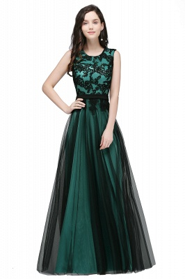 Cheap Pretty Sleeveless Black Lace Tulle Floor Length Formal Evening Dress with Sash in Stock_3