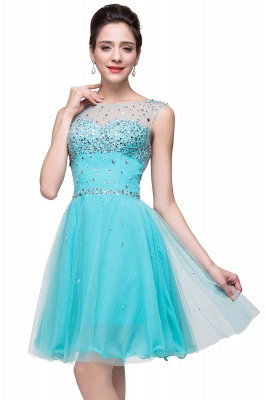 Cheap Open Back Sleeveless Chiffon Homecoming Dress Crystal Beads Tulle Short Prom Dress in Stock_9